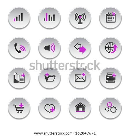 Internet web icons set, round shape, raster version - stock photo