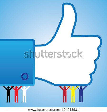 Internet website icons for approval, disapproval, like, unlike, yes, no, thumb up, thumb down, right, wrong, correct, incorrect, etc. used in sites like facebook - stock photo