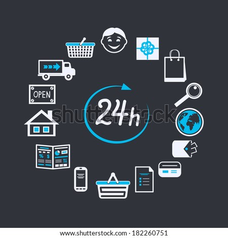 Internet website store open 24 hours for online shopping and customer service concept isolated  illustration - stock photo