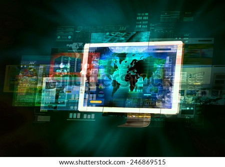 Internet websites flashing on monitor screen in high speed connection - stock photo