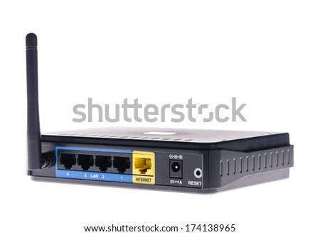 Internet wireless router isolated on white background