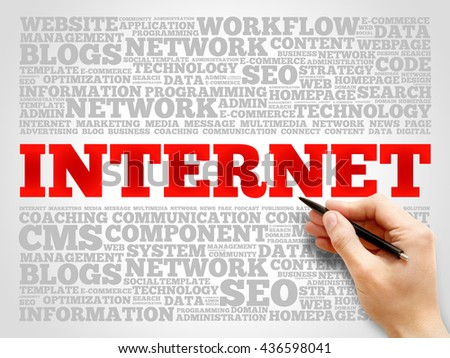 Internet word cloud, business concept - stock photo