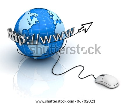 Internet World Wide Web Concept, Earth globe with computer mouse with arrow cursor on white background - stock photo