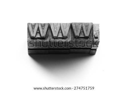 Internet www website by letterpress - stock photo