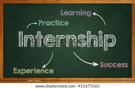 Internship written on chalkboard - stock photo