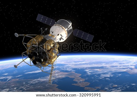 Interplanetary Space Station In Space. 3D Scene. - stock photo