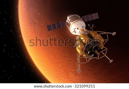 Interplanetary Space Station Orbiting Red Planet. 3D Scene. - stock photo
