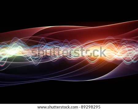 Interplay of abstract graphic elements, graceful waves and lights on the subject of directional flow, data transfer and sound wave analysis and dynamism in modern science and technology - stock photo