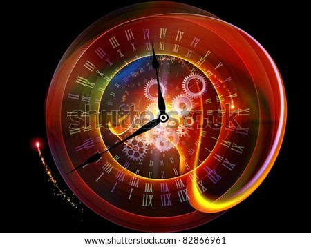 Interplay of clock elements and abstract imagery on the subject of time, progress, past, present and future