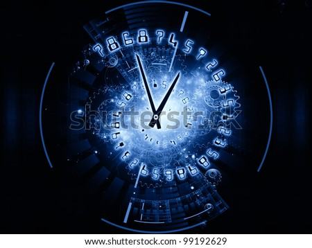 Interplay of clock hands, gears, lights and numbers on the subject of time sensitive issues, deadlines, scheduling, temporal computational processes, digital technologies, past, present and future
