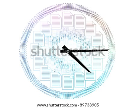Interplay of clock hands, numbers and documents on the subject of business hours, office work and accounting - stock photo