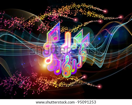 Interplay of colorful f waves and notes on the subject of music, audio and sound technology - stock photo