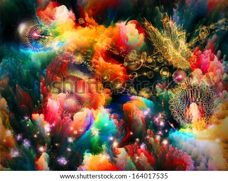 Interplay of colorful fractal forms and shapes on the subject of imagination, creativity and design. - stock photo