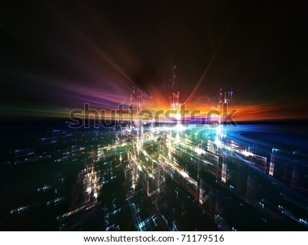 Interplay of colors and forms in three dimensional space on the subject virtual reality, cyberspace and modern technologies - stock photo