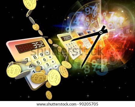 Interplay of digital calculator, clock, dollars, numbers and colors on the subject of calculation, deadline and office work - stock photo
