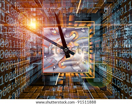 Interplay of digits, grids and clock mechanism on the subject of computer time, processor clock, information processing and time - stock photo