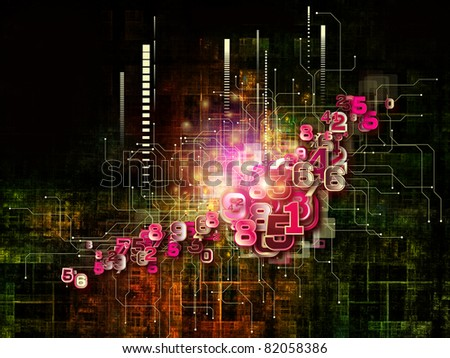Interplay of electronic circuitry, digits and design elements on the subject of networking, digital processing, communications and modern technologies - stock photo