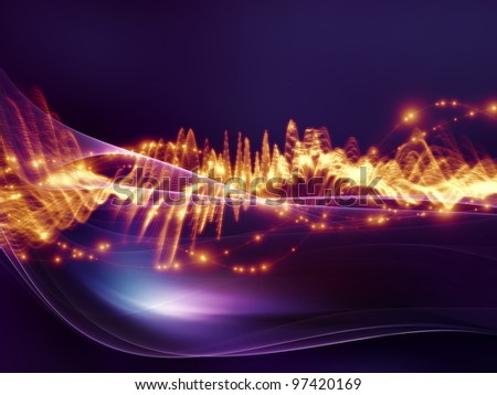 Interplay of fractal waves, lights and abstract design elements on the subject of music, sound, entertainment, data visualization  and modern technologies - stock photo
