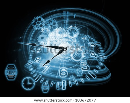 Interplay of gears, clock elements and abstract design elements on the subject of scheduling, temporal and time related processes, deadlines, progress, past, present and future - stock photo