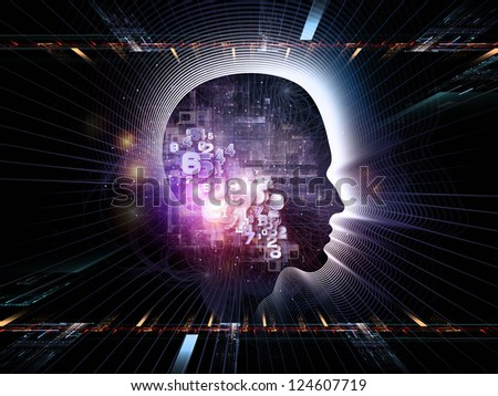 Interplay of human head and fractal grids on the subject of intelligent design, science and technology