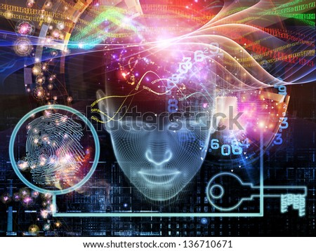Interplay of human head, key symbol and fractal design elements on the subject of encryption, security, digital communications, science and technology - stock photo