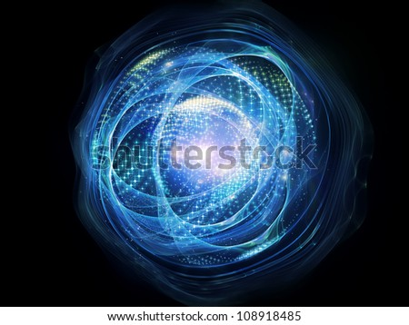 Interplay of lights, curves and fractal elements on the subject of technology, science and entertainment - stock photo