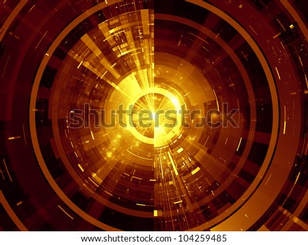 Interplay of lights, fractal concentric grids, technological lines on the subject of science, energy, signal processing  and modern technologies