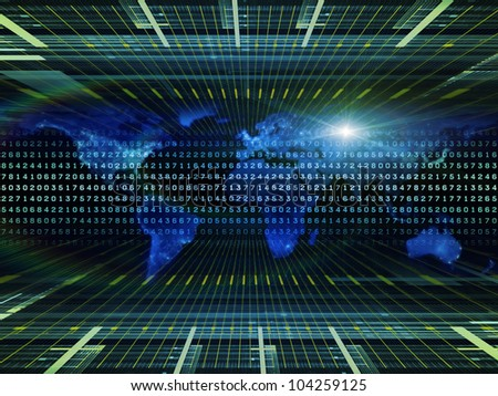 Interplay of lights, numbers, grids and satellite imagery (courtesy of NASA) on the subject of science, global computing and communication technologies - stock photo