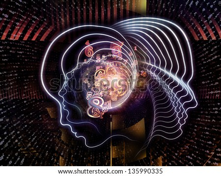 Interplay of lines of human head, fractal grids and technology related symbols on the subject of artificial intelligence, science, education and technology - stock photo
