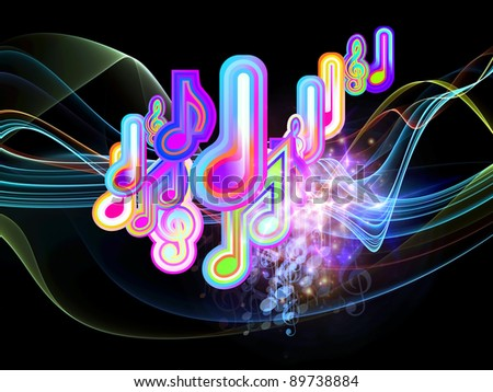 Interplay of music notes, fractal waves and abstract design elements on the subject of music, concert performance, sound and entertainment - stock photo