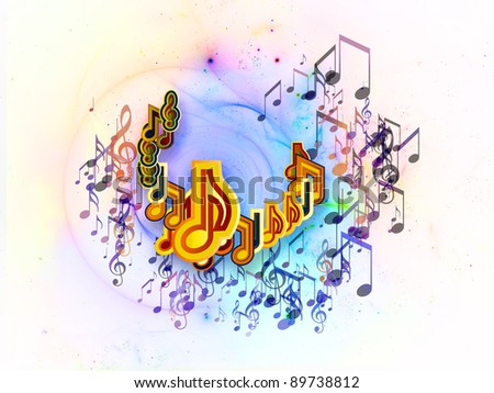 Interplay of music symbols and abstract elements on the subject of music, sound, song and dance. - stock photo