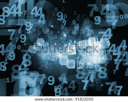 Interplay of numbers, abstract design units and lights on the subject of cloud computing, data storage and modern technologies - stock photo
