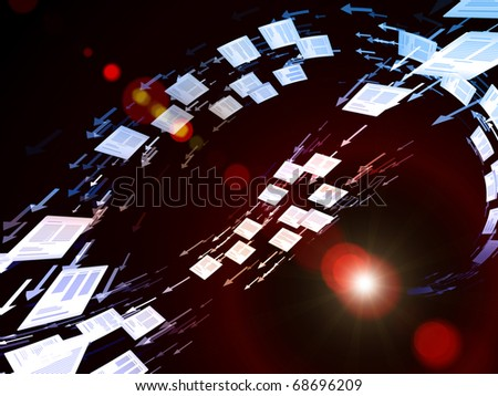Interplay of perspective lines, documents, and symbols on the subject of business transactions, data processing, telecommunications and Internet. - stock photo