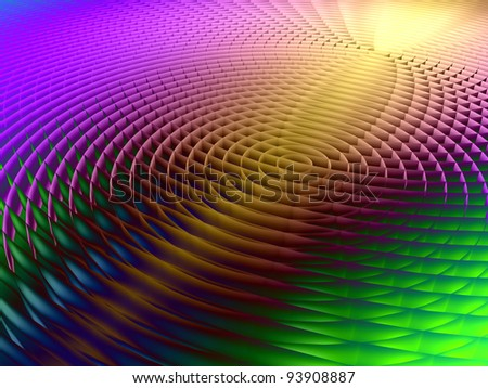 Interplay of three dimensional concentric lines suitable as a backdrop for technology, acoustic, music and sound-related projects - stock photo