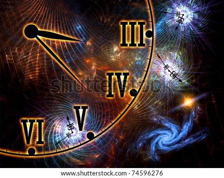 Interplay of time symbols, abstract forms and lights on the subject of space, time, relativity, cosmology, modern science and technology - stock photo