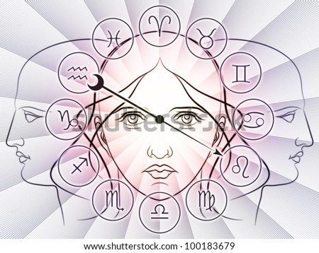 Interplay of Zodiac symbols, outlines of human heads, directional arrow and abstract design elements on the subject of astrology, fortune telling, horoscopes, destiny and personal relationships - stock photo