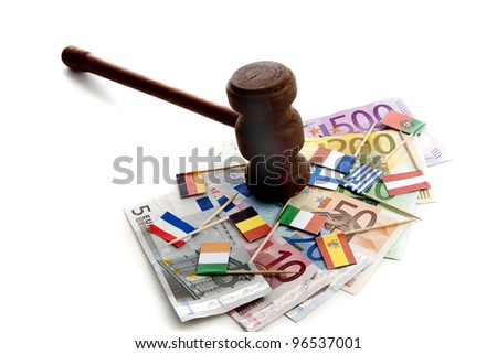 Interpretation of the European problems due to the world wide economical financial crisis - stock photo