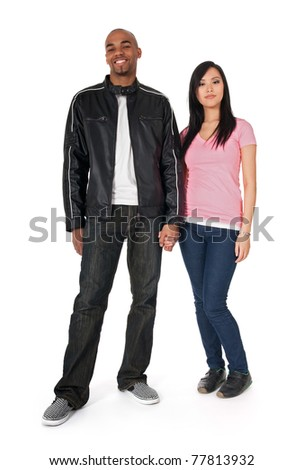 Interracial couple - African American guy with Asian girlfriend. - stock photo