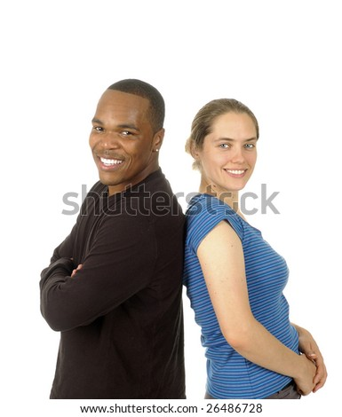 interracial couple isolated on white background - stock photo