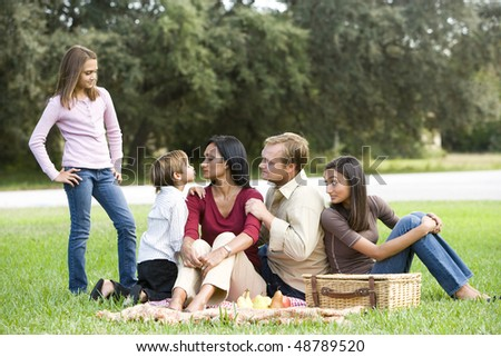 Interracial family enjoying a picnic in the park - stock photo