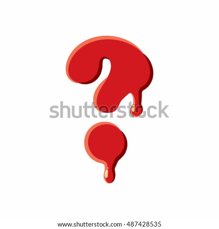Interrogative sign isolated on white background. Red bloody interrogative, sign  illustration