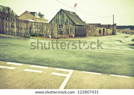 Intersecting roads in Burghead, Scotland in winter - stock photo