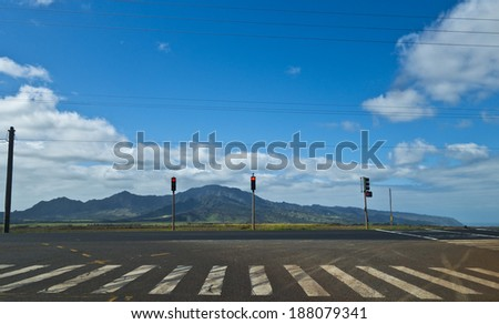 Intersection and Crosswalk on a Road in Hawaii - stock photo