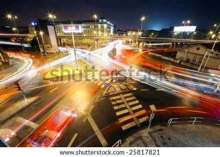 Intersection at night - stock photo
