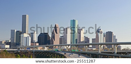 Intersection of Interstate I-10 and I-45 with the Houston skyline - stock photo