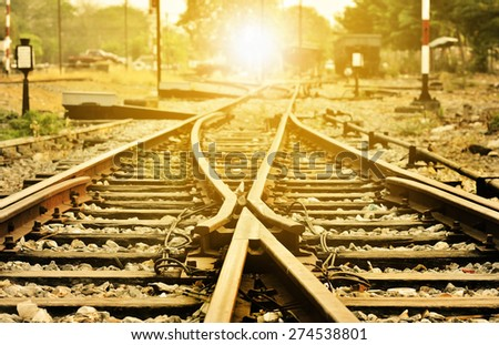 Intersection of old local railroad tracks. - stock photo