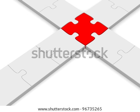 Intersection of puzzle pieces - 3d render illustration - stock photo