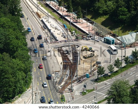 intersection road under construction - stock photo