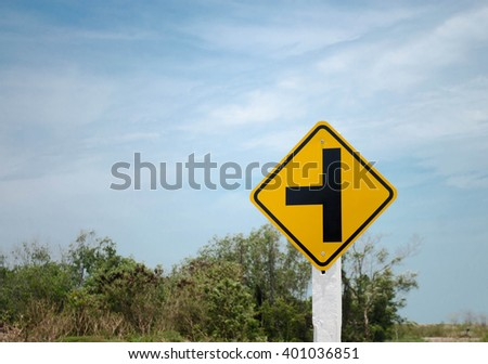 intersection traffic sign for safety on the road. - stock photo
