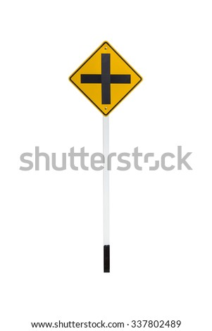intersection traffic sign isolated on white background - stock photo